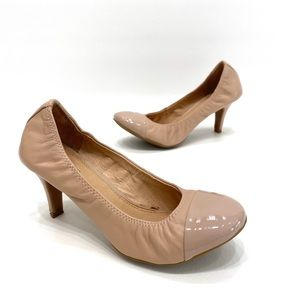 Aldo women's nude leather cap toe ballet heels 8